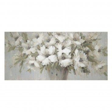 Quadro Pintado Flores Canvas