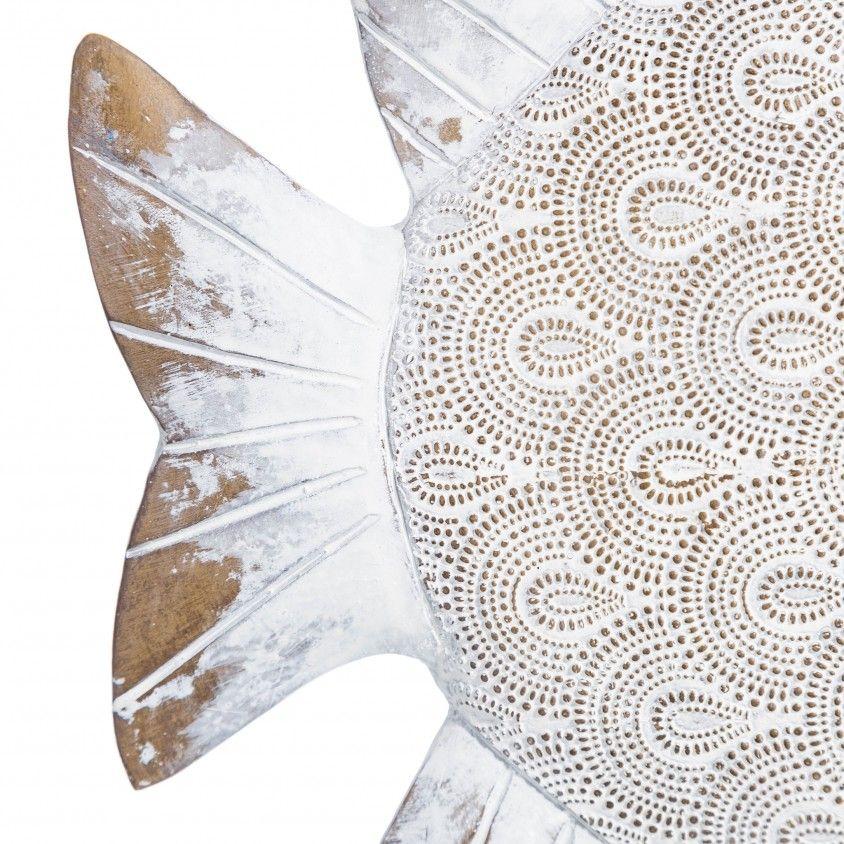 Figura Peixe Poliresina Ouro/Branco