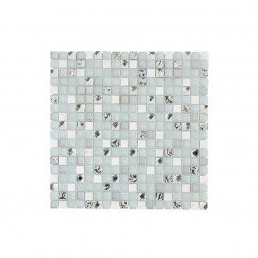 Pastilha Pedra Natural/Vidro Branco Contraste 30x30