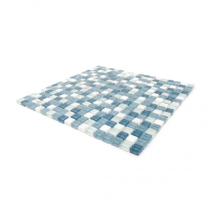 Pastilha Pedra Natural/Vidro Branco/Cinza 30x30