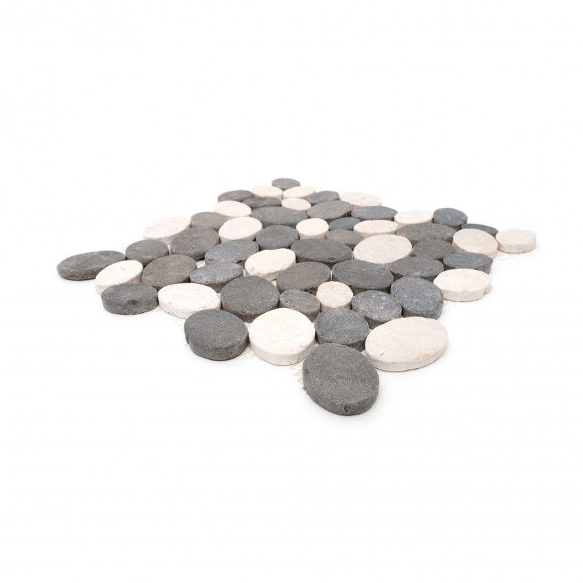 Mosaico Mármore Oval Cinza/Branco 30x30