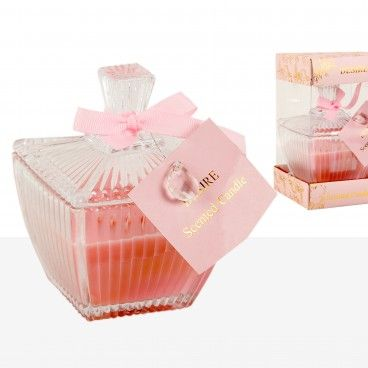 Caixa Vidro com Vela Perfumada Rosa
