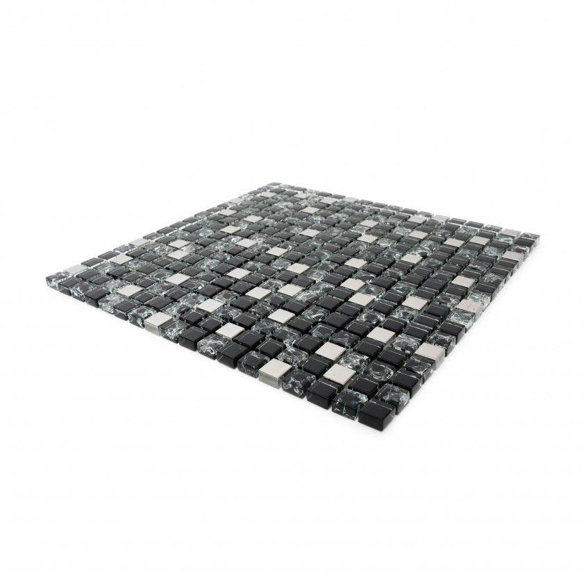 Pastilha Vidro/Aluminio Preto 30x30
