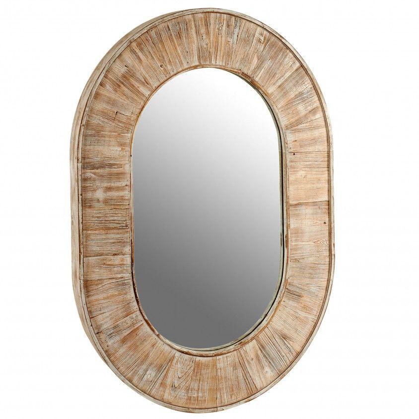 Espelho Madeira Moldura Oval
