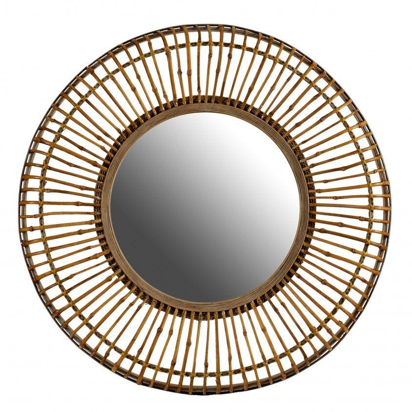 Espelho Cana Natural Moldura Larga