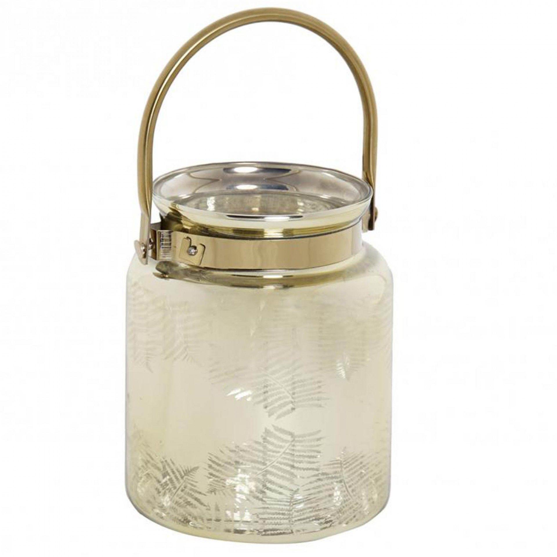 Porta Vela dourado em vidro | Moviflor