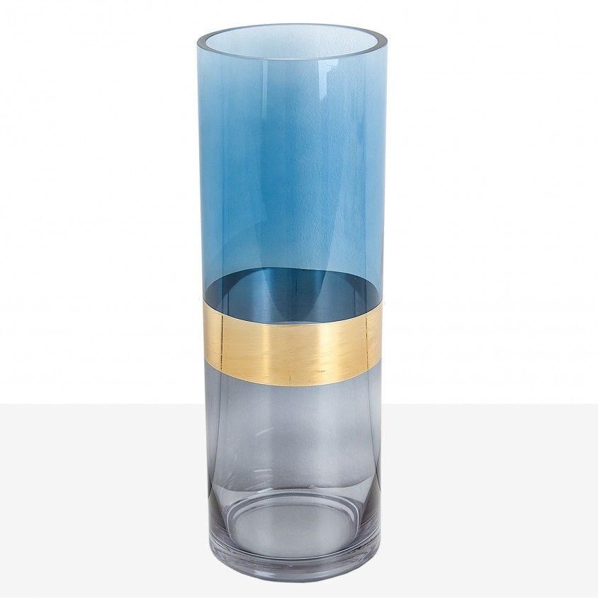 Jarra Vidro Azul Faixa Dourado