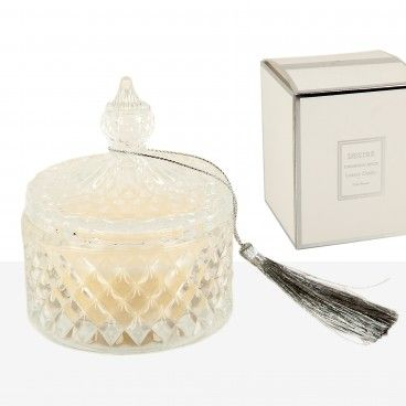 Caixa Vidro com Vela Perfumada Pérola