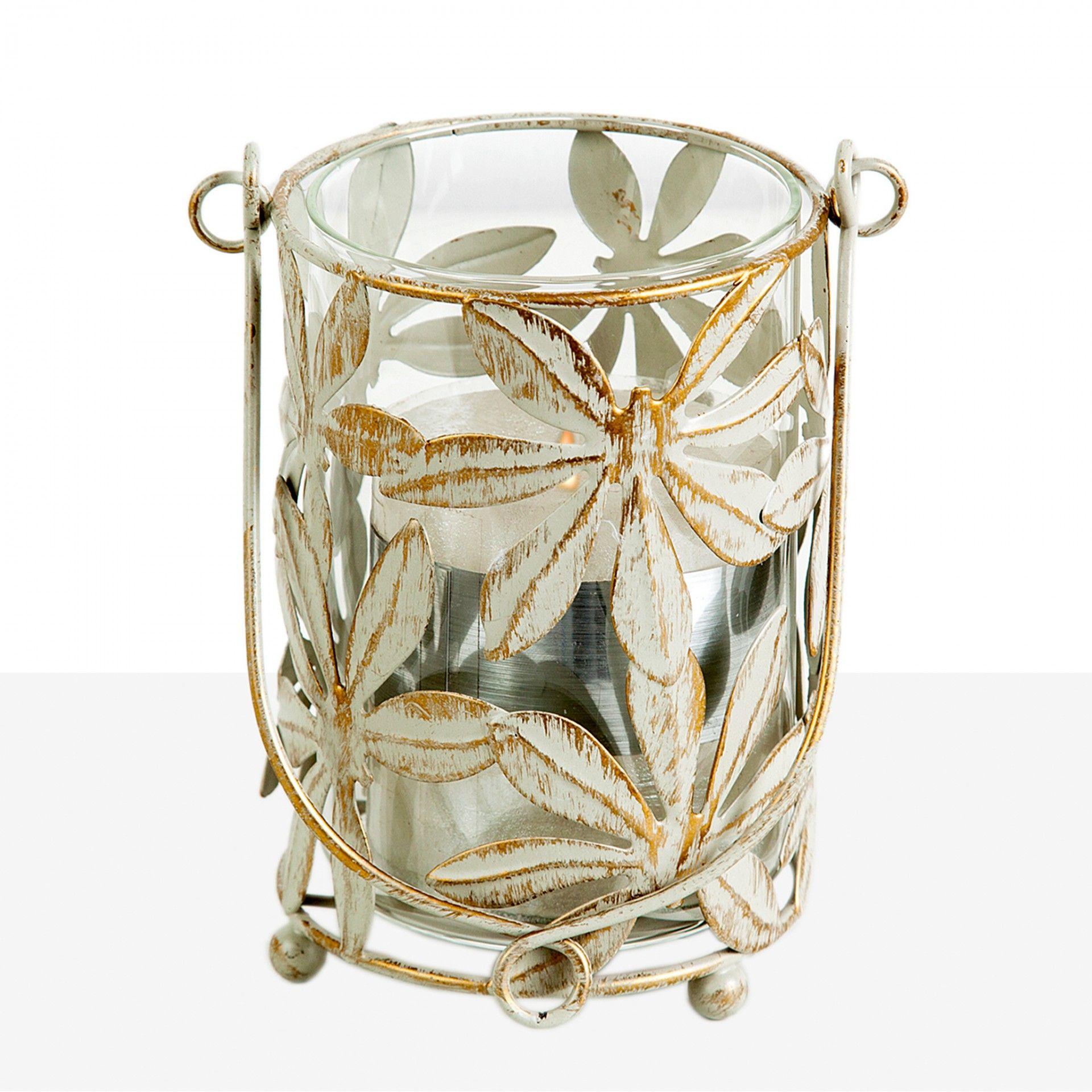 Porta Velas em metal com flores | Moviflor