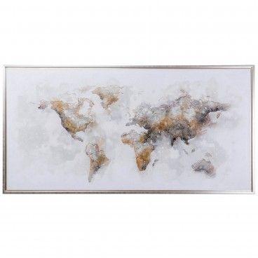 Quadro Mapa Mundi Ouro