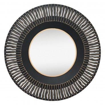 Espelho em Metal Preto/Dourado