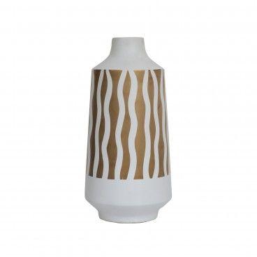 Jarra Decorativa Cerâmica Branco/Dourado