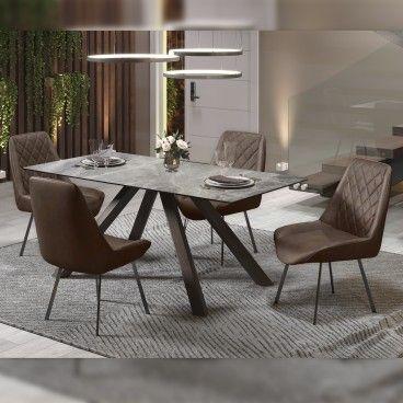 Mesa Roma Cinza Esverdeado com 4 Cadeiras Pisa