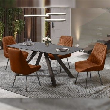 Mesa Roma Cinza com 4 Cadeiras Pisa