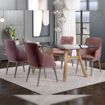 Mesa Caen Carvalho/Vidro Preto com 4 Cadeiras Modena