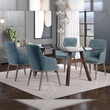 Mesa Caen Wengue/Vidro Preto com 4 Cadeiras Modena