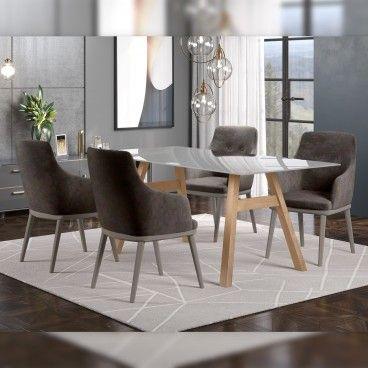 Mesa Caen Carvalho/Vidro Transparente com 4 Cadeiras Modena
