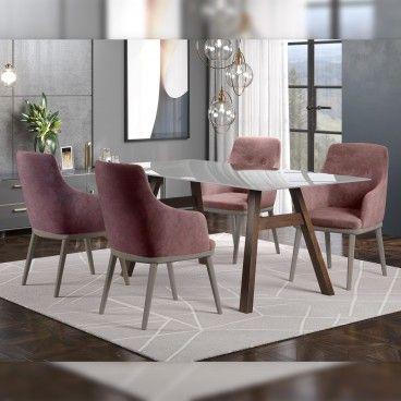 Mesa Caen Wengue/Vidro Transparente com 4 Cadeiras Modena