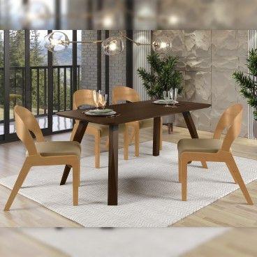 Mesa Nancy Wengue com 4 Cadeiras Udine