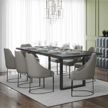 Mesa Orion Cinza com 6 Cadeiras Parissa Cinza