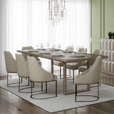 Mesa Orion Cinza Escovado com 6 Cadeiras Parissa Creme